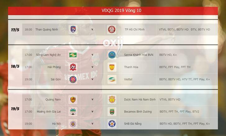 lich thi dau v league 2019 vong 10