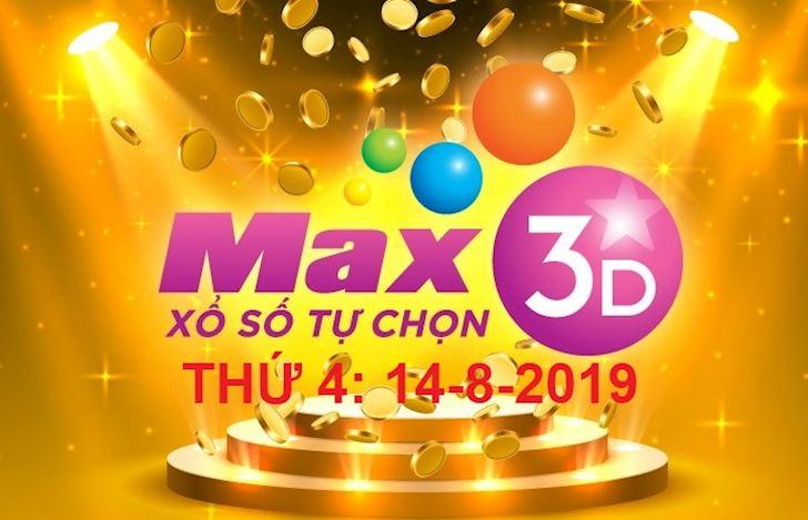 Kết quả xổ số VietLott MAX 3D thứ 4 hôm nay ngày 14-8-2019