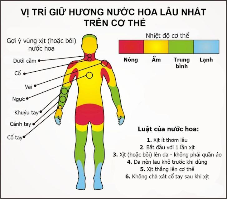 Huong dan nam gioi vi tri xit nuoc hoa tren co the de giu huong lau nhat