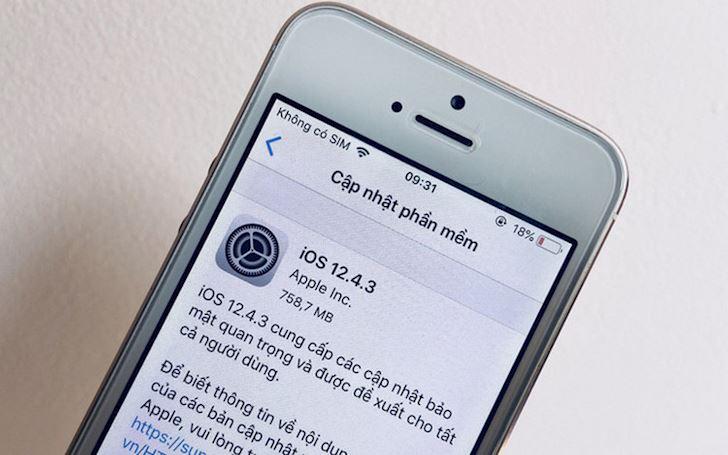 iOS 12 4 3 da san de tai ve cho thiet bi khong len duoc iOS 13 1