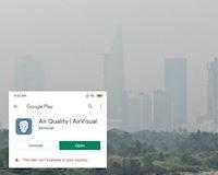 Sốc: Ứng dụng airvisual bị chặn tại VN, biến mất khỏi kho ứng dụng
