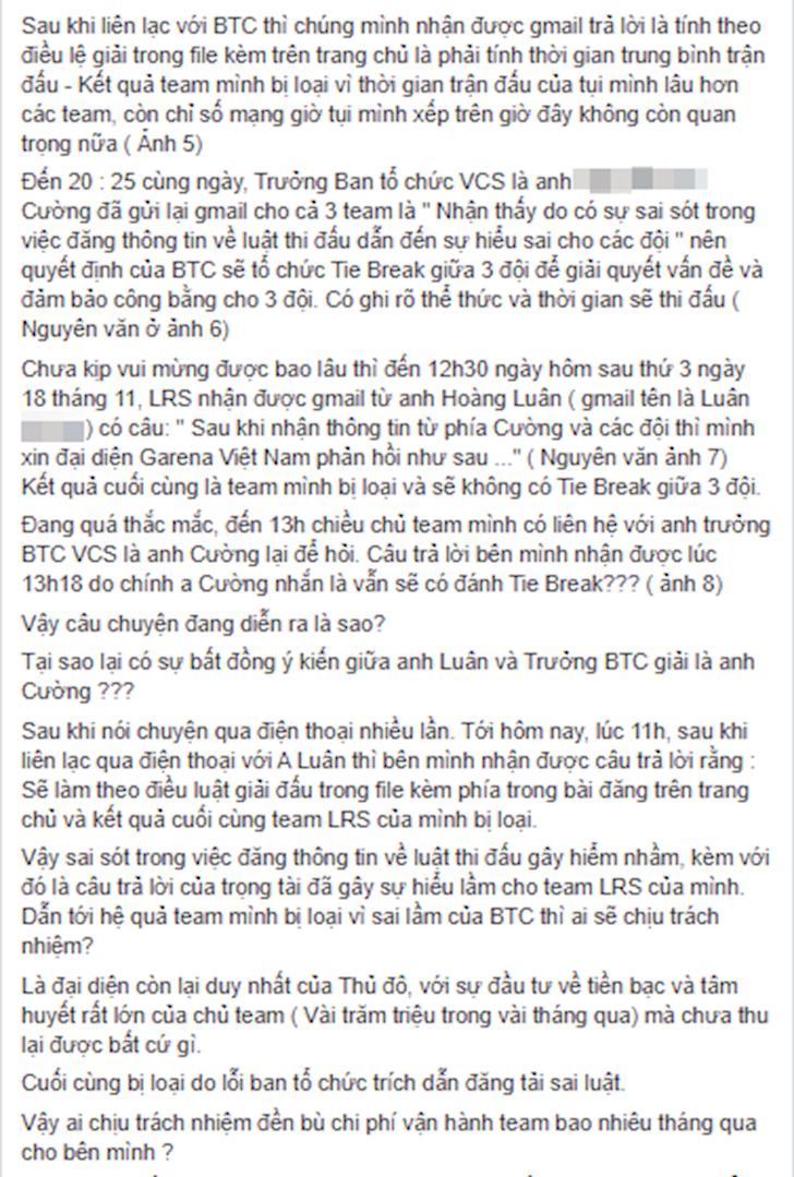 Ban to chuc VCS tiep tuc bi dai dien LMHT Ha Noi boc phot trong khau to chuc
