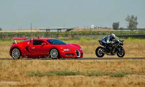 Kawasaki H2R cho siêu xe Bugatti Veyron hít khói