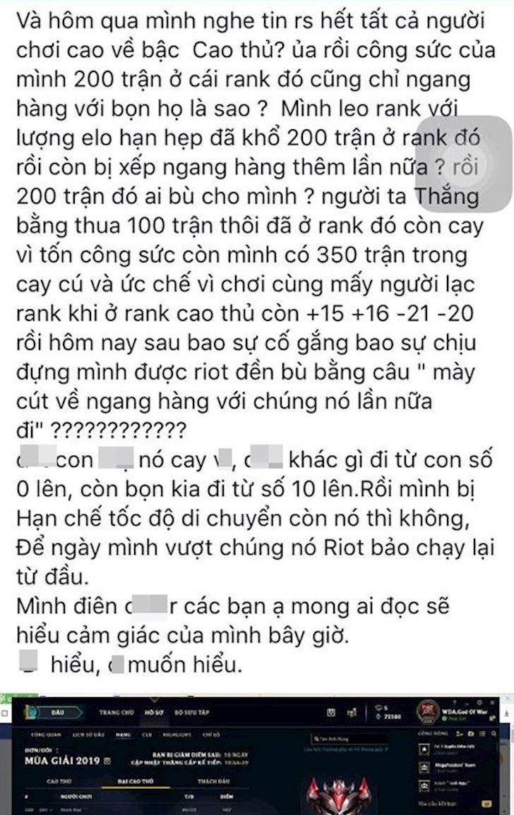 LMHT: 200 tran moi len duoc Dai cao thu, Rot khien game thu uc che vi reset rank