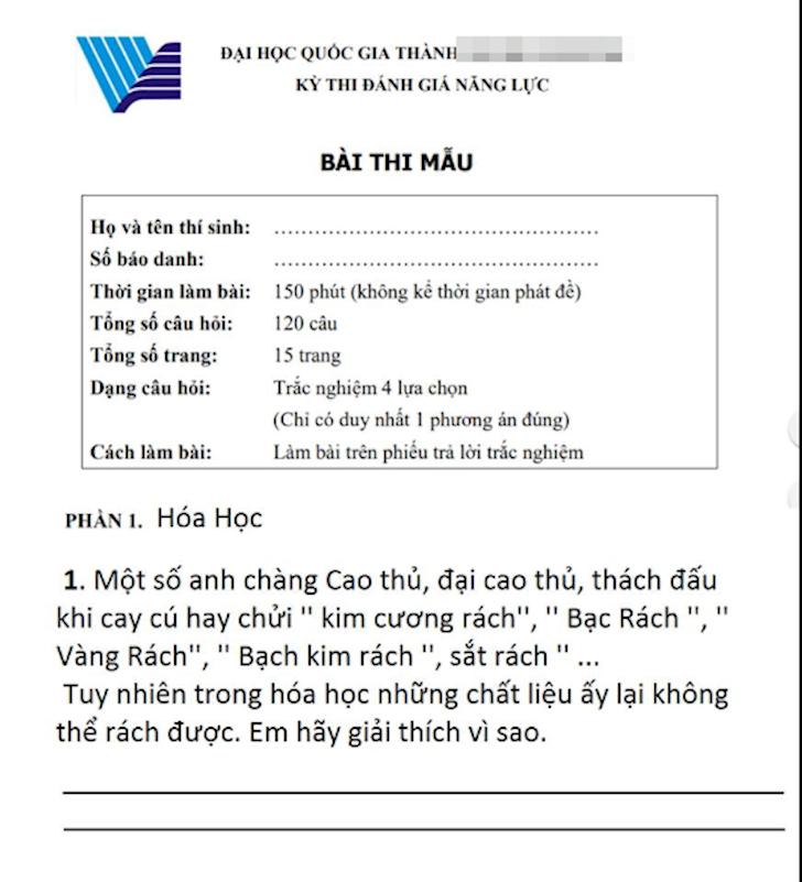 Rank cua Lien Minh Huyen Thoai duoc dua vao de thi Hoa hoc