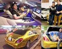 Bóc mẽ chiếc xe hơi Mercedes vàng chóe Phúc XO hay cầm lái