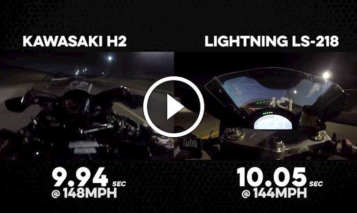 Kawasaki Ninja H2 đại chiến tốc độ gay cấn với siêu mô tô điện