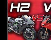 Hồi hộp xem Kawasaki H2 quyết chiến tốc độ khốc liệt với Ducati Panigale V4S