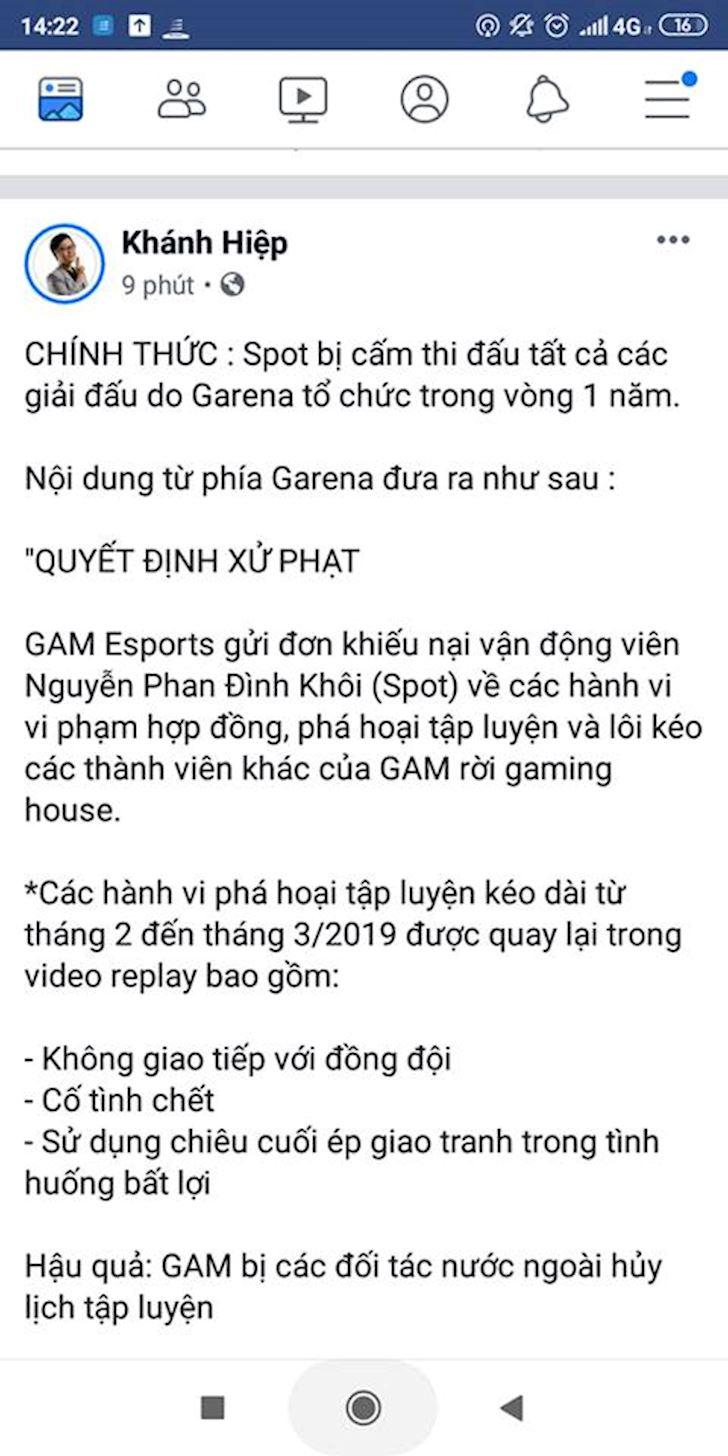 Bien cang Bi to co tinh pha hoai GAM Spot lanh an cam thi dau 1 nam