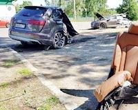 Xe Audi đứt đôi, tài xế sống sót kỳ diệu