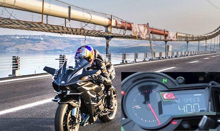 Kawasaki H2R chạm mốc tốc độ không tưởng 400 km/h trên đường phố