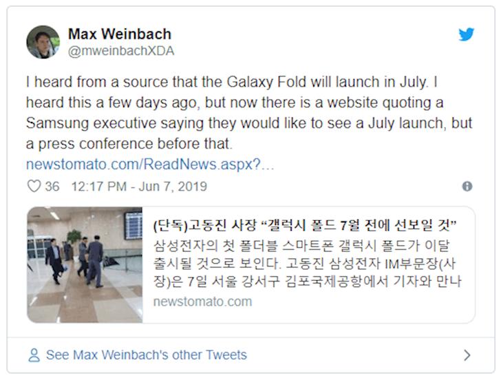 Lieu Samsung Galaxy Fold mo ban tro lai vao thang 7 2