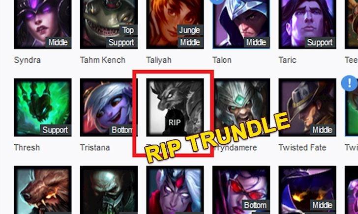 """Trundle bị """"khai tử"""" trên trang web thông kê lớn nhất về LMHT có phải là do Riot Games?"""