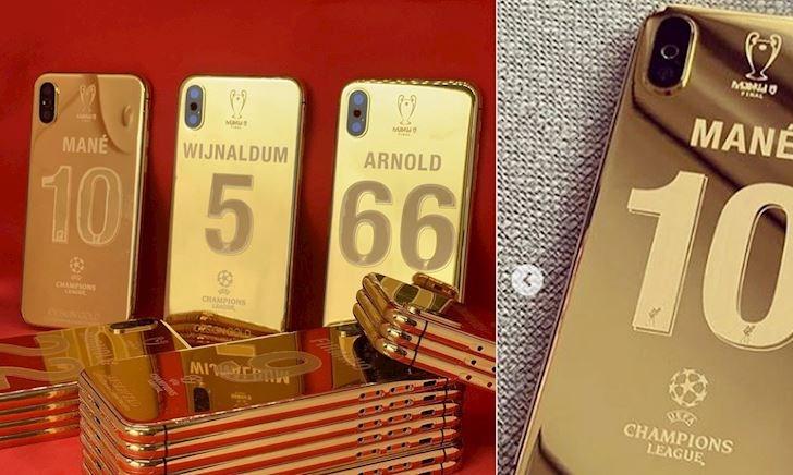 Cận cảnh 27 chiếc iPhone mạ vàng đặc biệt dành tặng cho các cầu thủ Liverpool mừng vô địch
