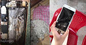 Có video và hình ảnh - iPhone 6S Plus bốc cháy ở Long An trong đêm hai vợ chồng may mắn phát hiện kịp thời