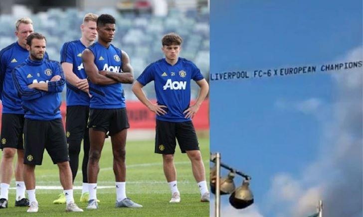 CĐV Liverpool thuê máy bay chế giễu Man Utd ở nước ngoài