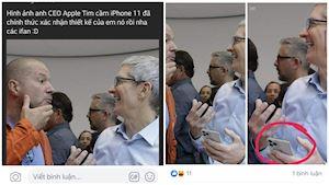 Hình ảnh Photoshop Tim Cook cầm trên tay iPhone 11 khiến dân mạng tin sái cổ
