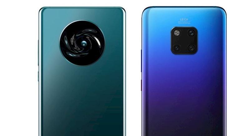 """Lộ diện thiết kế mặt lưng Huawei Mate 30 Pro với cụm camera hình tròn sắp xếp cảm biến theo hình chữ """"X"""""""