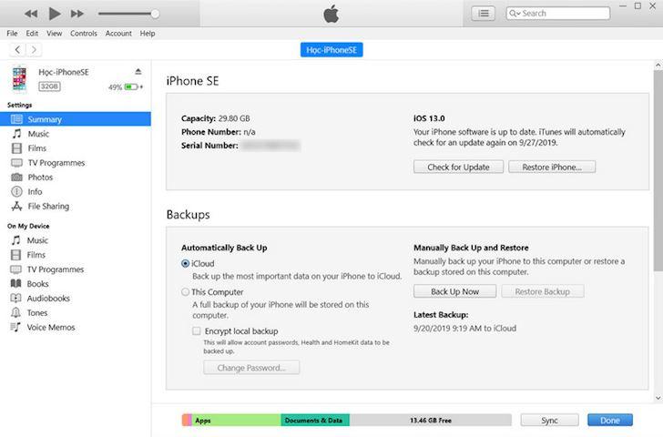 2 Cach ha cap iOS 13 ve phien ban iOS 12 4 1 2