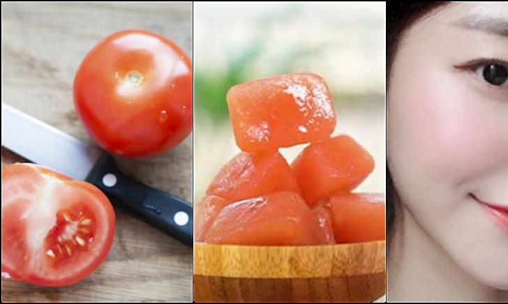 Làm đá viên cà chua dưỡng sáng da siêu dễ, mới 1 tuần mà da đã
