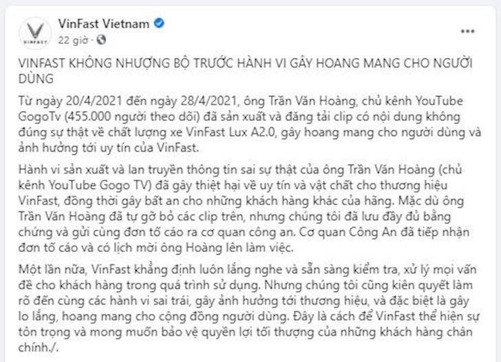 Cấm chê Vinfast-thong-bao-nho-cong-an-vao-cuoc-vu-nguoi-tieu-dung-che-xe
