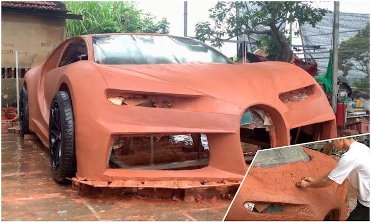 Siêu xe Bugatti Chiron tạo nên bởi Việt Nam, phiên bản đất sét