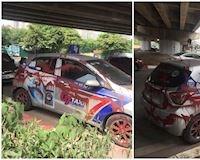 Ngủ 1 đêm dậy, xe taxi bị tạt kín sơn gây phẫn nộ