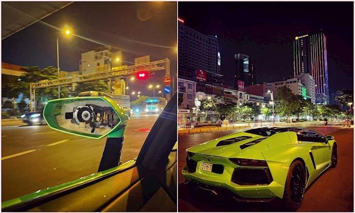 Ơ kìa, siêu xe đang đậu trên đường phố Sài Gòn bị trộm lấy luôn kính chiếu hậu